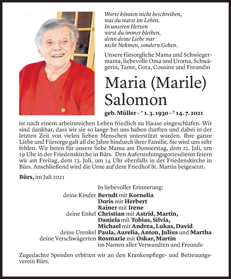 Todesanzeige für Maria Salomon vom 21.07.2021 aus Vorarlberger Nachrichten