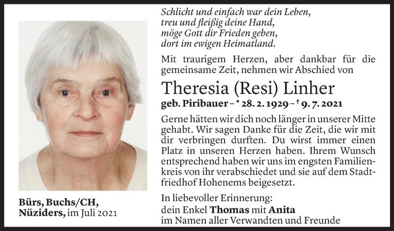 Todesanzeige für Theresia Linher vom 15.07.2021 aus Vorarlberger Nachrichten