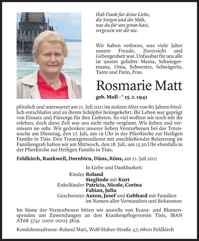 Todesanzeige für Rosmarie Matt vom 23.07.2021 aus Vorarlberger Nachrichten