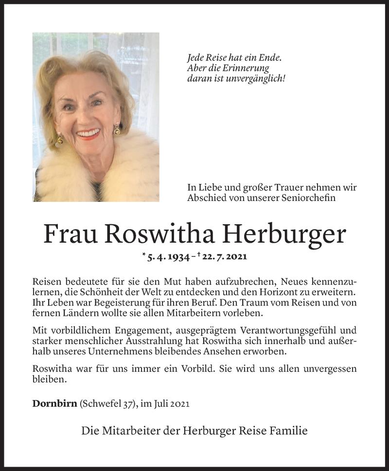 Todesanzeige für Roswitha Herburger vom 27.07.2021 aus Vorarlberger Nachrichten
