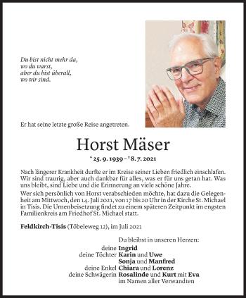 Todesanzeige von Horst Mäser von Vorarlberger Nachrichten