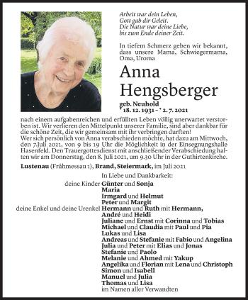 Todesanzeige von Anna Hengsberger von Vorarlberger Nachrichten