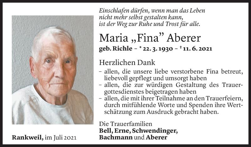 Todesanzeige für Maria Aberer vom 14.07.2021 aus Vorarlberger Nachrichten