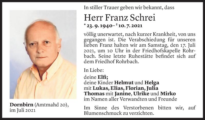 Todesanzeige für Franz Schrei vom 13.07.2021 aus Vorarlberger Nachrichten