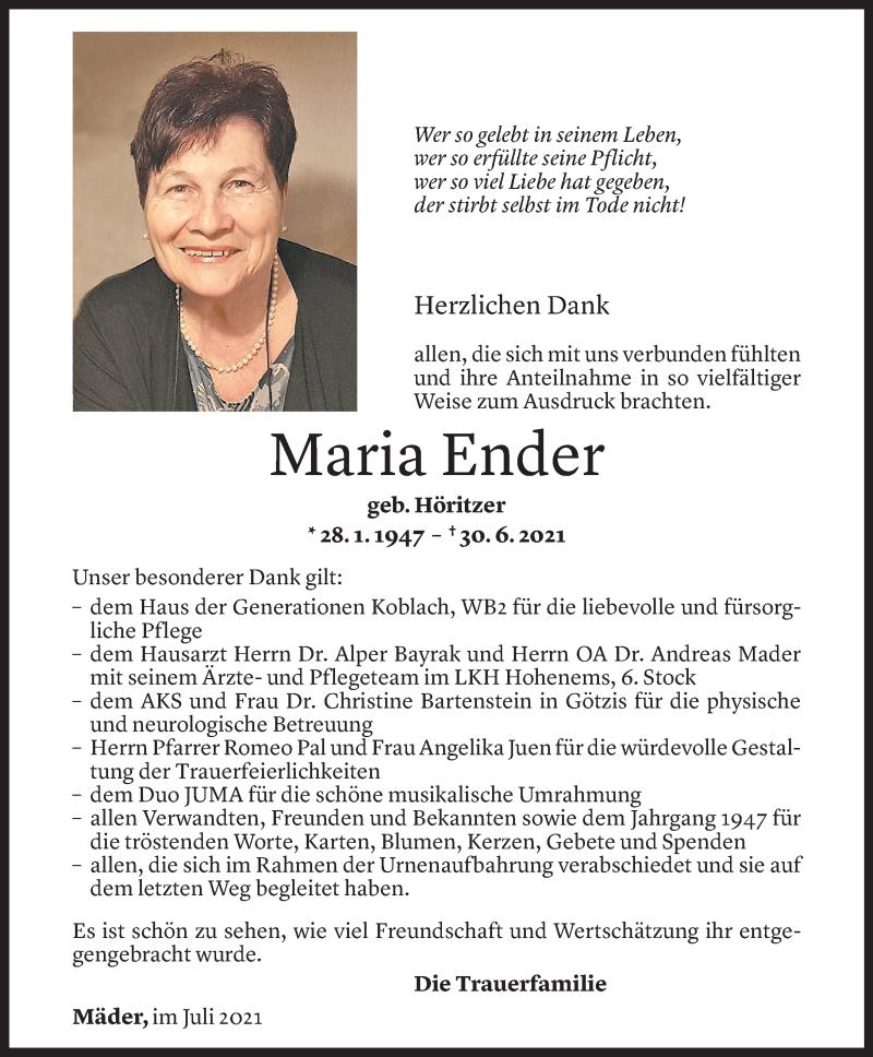 Todesanzeige für Maria Ender vom 16.07.2021 aus Vorarlberger Nachrichten