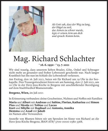 Todesanzeige von Richard Schlachter von Vorarlberger Nachrichten