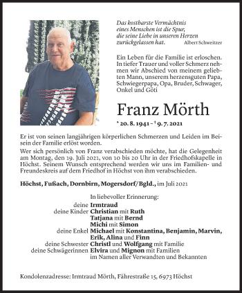Todesanzeige von Franz Mörth von Vorarlberger Nachrichten