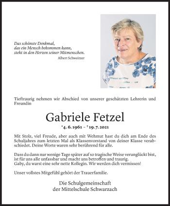 Todesanzeige von Gaby Fetzel von Vorarlberger Nachrichten