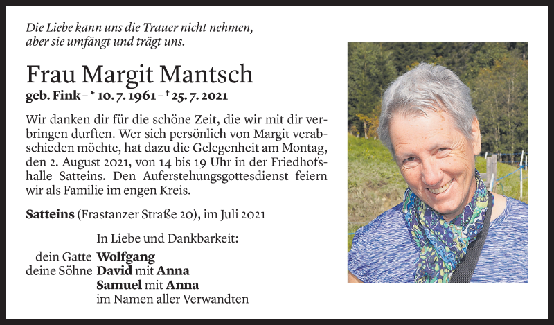 Todesanzeige für Margit Mantsch vom 31.07.2021 aus Vorarlberger Nachrichten