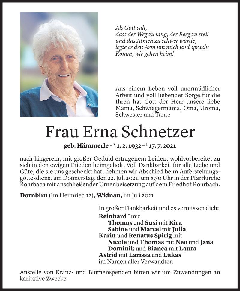Todesanzeige für Erna Schnetzer vom 19.07.2021 aus Vorarlberger Nachrichten