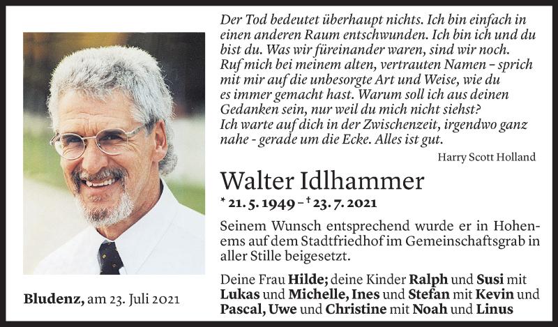Todesanzeige für Walter Idlhammer vom 31.07.2021 aus Vorarlberger Nachrichten