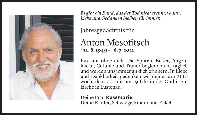 Todesanzeige für Anton Mesotitsch vom 18.07.2021 aus Vorarlberger Nachrichten