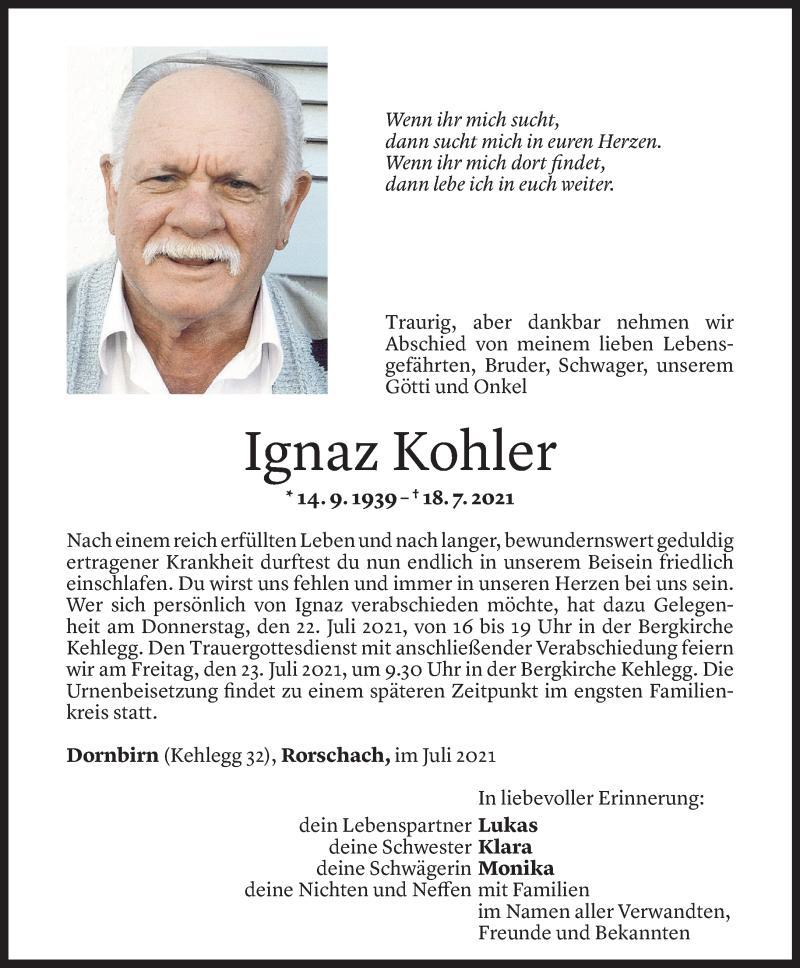 Todesanzeige für Ignaz Kohler vom 20.07.2021 aus Vorarlberger Nachrichten