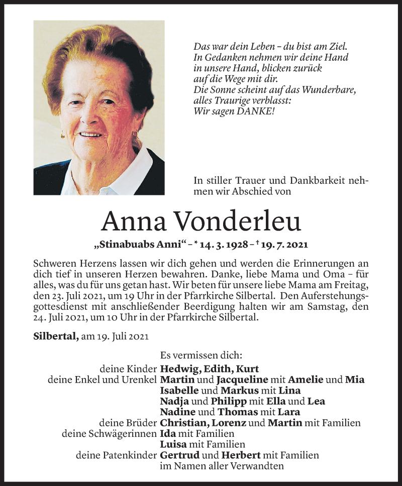 Todesanzeige für Anna Vonderleu vom 20.07.2021 aus Vorarlberger Nachrichten
