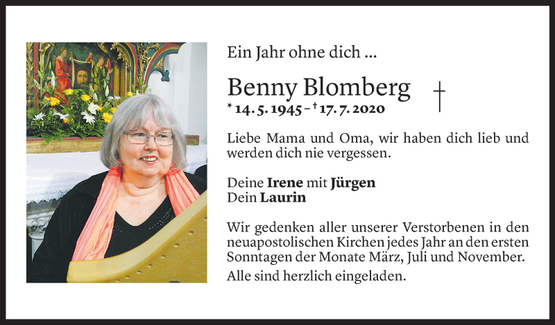 Todesanzeige für Benny Blomberg vom 17.07.2021 aus Vorarlberger Nachrichten
