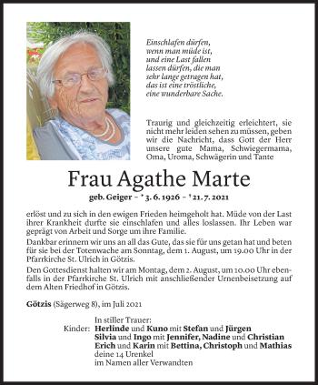 Todesanzeige von Agathe Marte von Vorarlberger Nachrichten