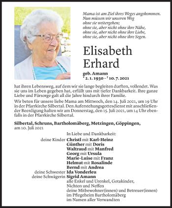 Todesanzeige von Elisabeth Erhard von Vorarlberger Nachrichten