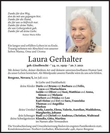 Todesanzeige von Laura Gerhalter von Vorarlberger Nachrichten