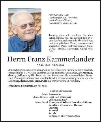 Todesanzeige von Franz Kammerlander von Vorarlberger Nachrichten
