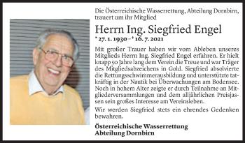 Todesanzeige von Siegfried Engel von Vorarlberger Nachrichten