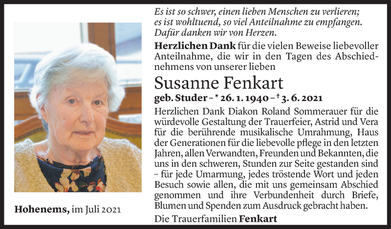Todesanzeige für Susanne Yvonne Fenkart vom 09.07.2021 aus Vorarlberger Nachrichten
