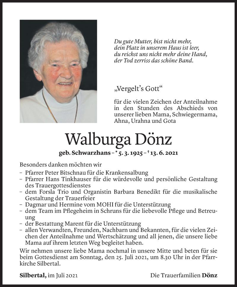 Todesanzeige für Walburga Dönz vom 16.07.2021 aus Vorarlberger Nachrichten