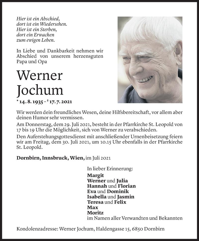 Todesanzeige für Werner Jochum vom 23.07.2021 aus Vorarlberger Nachrichten