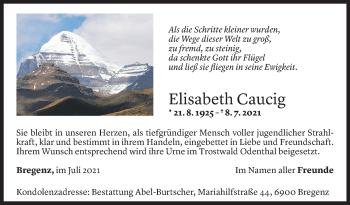 Todesanzeige von Elisabeth Caucig von Vorarlberger Nachrichten