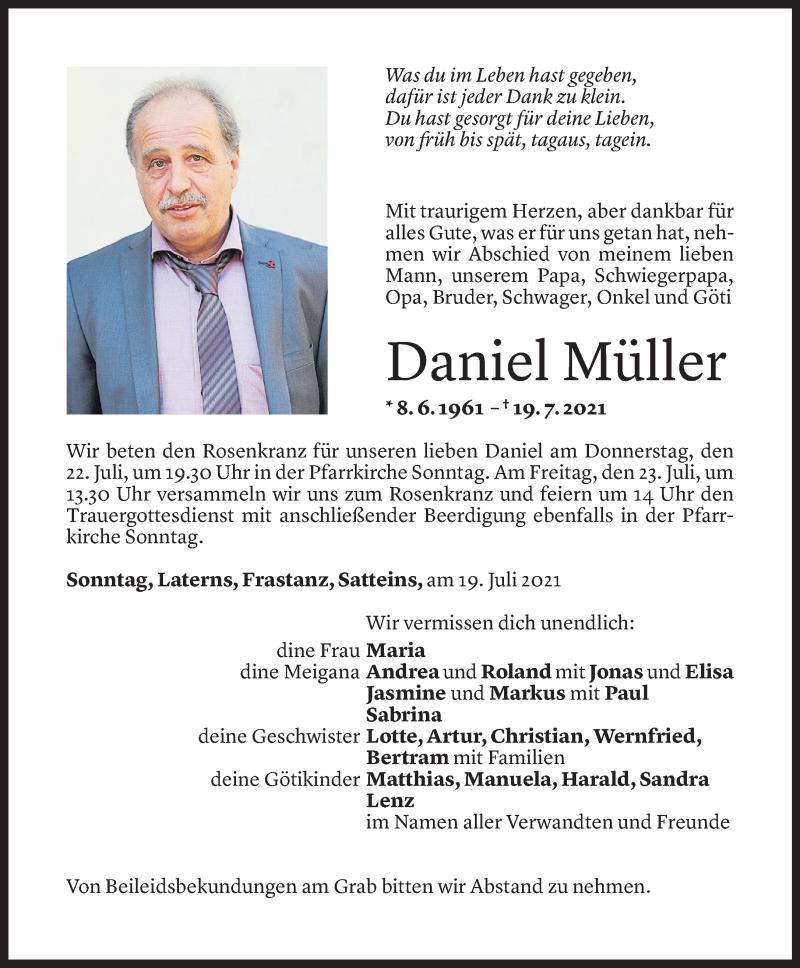 Todesanzeige für Daniel Müller vom 20.06.2021 aus Vorarlberger Nachrichten
