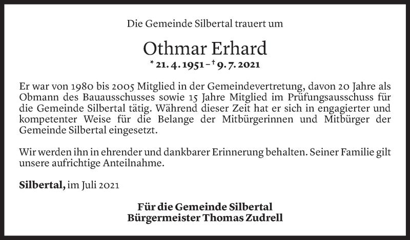 Todesanzeige für Othmar Erhard vom 14.07.2021 aus Vorarlberger Nachrichten