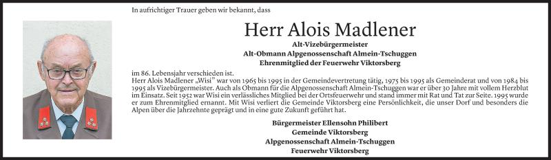 Todesanzeige für Alois Madlener vom 28.07.2021 aus Vorarlberger Nachrichten
