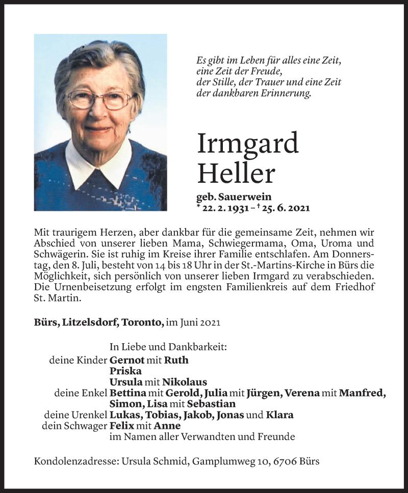 Todesanzeige für Irmgard Heller vom 05.07.2021 aus Vorarlberger Nachrichten