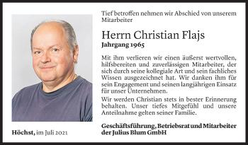 Todesanzeige von Christian Flajs von Vorarlberger Nachrichten