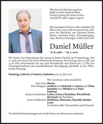 Todesanzeige von Daniel Müller von Vorarlberger Nachrichten