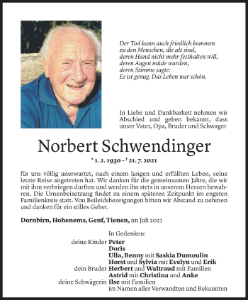Todesanzeige von Norbert Schwendinger von Vorarlberger Nachrichten