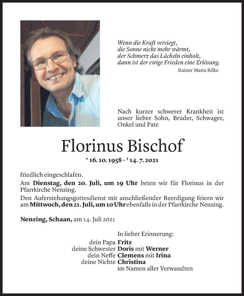 Todesanzeige für Florinus Bischof vom 16.07.2021 aus Vorarlberger Nachrichten