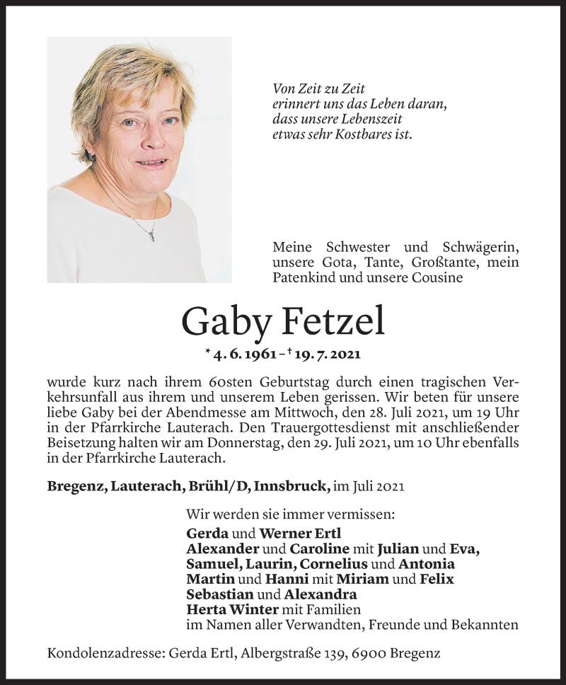 Todesanzeige für Gaby Fetzel vom 23.07.2021 aus Vorarlberger Nachrichten