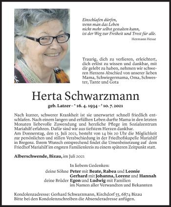 Todesanzeige von Herta Schwarzmann von Vorarlberger Nachrichten