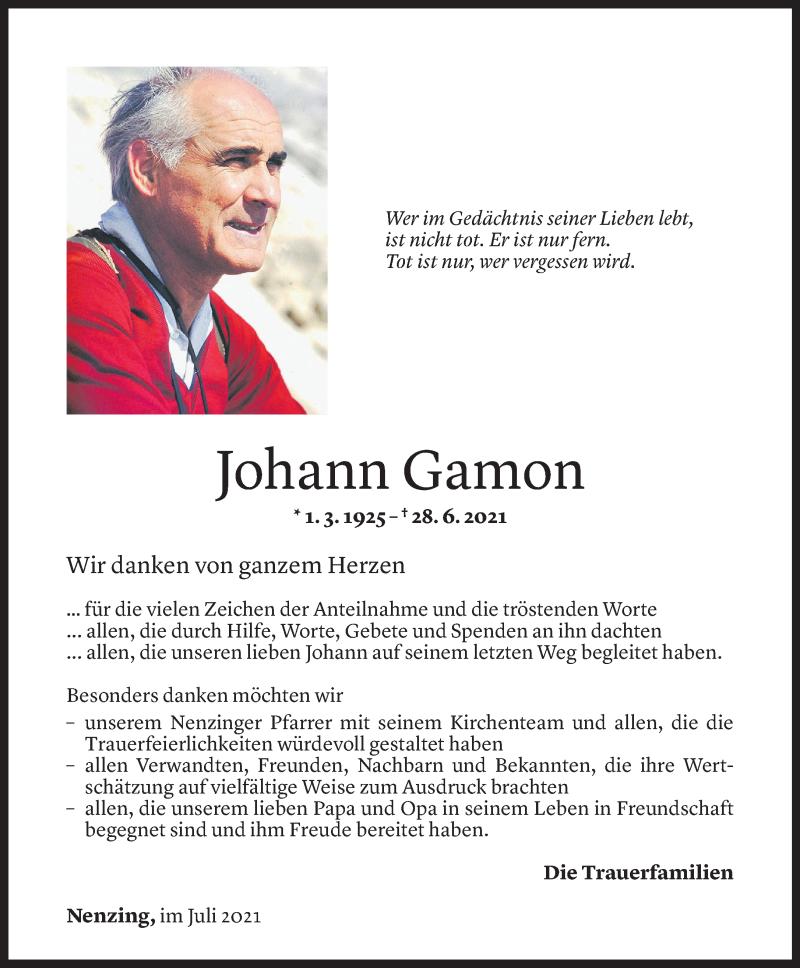 Todesanzeige für Johann Gamon vom 24.07.2021 aus Vorarlberger Nachrichten