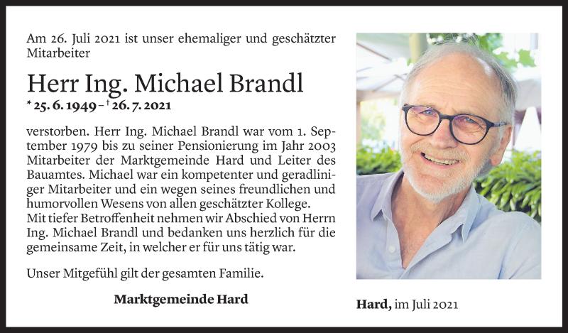 Todesanzeige für Michael Brandl vom 29.07.2021 aus Vorarlberger Nachrichten