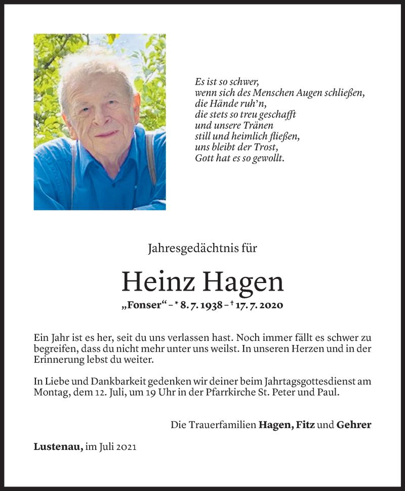 Todesanzeige für Heinz Hagen vom 09.07.2021 aus Vorarlberger Nachrichten