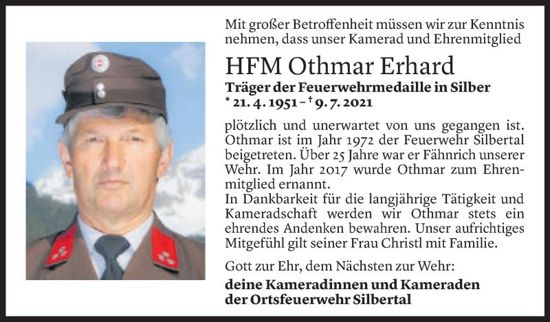 Todesanzeige für Othmar Erhard vom 13.07.2021 aus Vorarlberger Nachrichten