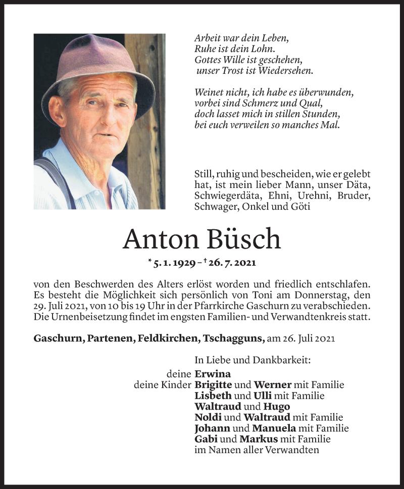 Todesanzeige für Anton Büsch vom 27.07.2021 aus Vorarlberger Nachrichten