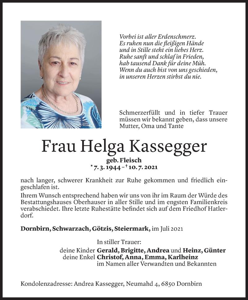 Todesanzeige für Helga Kassegger vom 17.07.2021 aus Vorarlberger Nachrichten