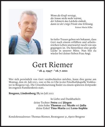 Todesanzeige von Gert Riemer von Vorarlberger Nachrichten