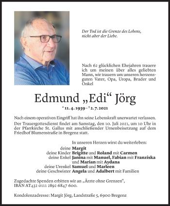 Todesanzeige von Edmund Jörg von Vorarlberger Nachrichten