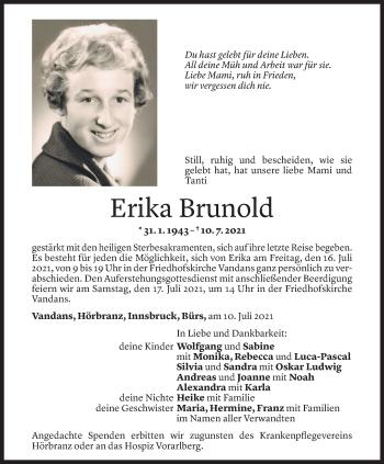 Todesanzeige von Erika Brunold von Vorarlberger Nachrichten
