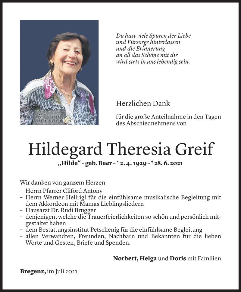 Todesanzeige für Hildegard Theresia Greif vom 30.07.2021 aus Vorarlberger Nachrichten