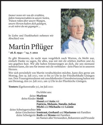 Todesanzeige von Martin Pflüger von Vorarlberger Nachrichten
