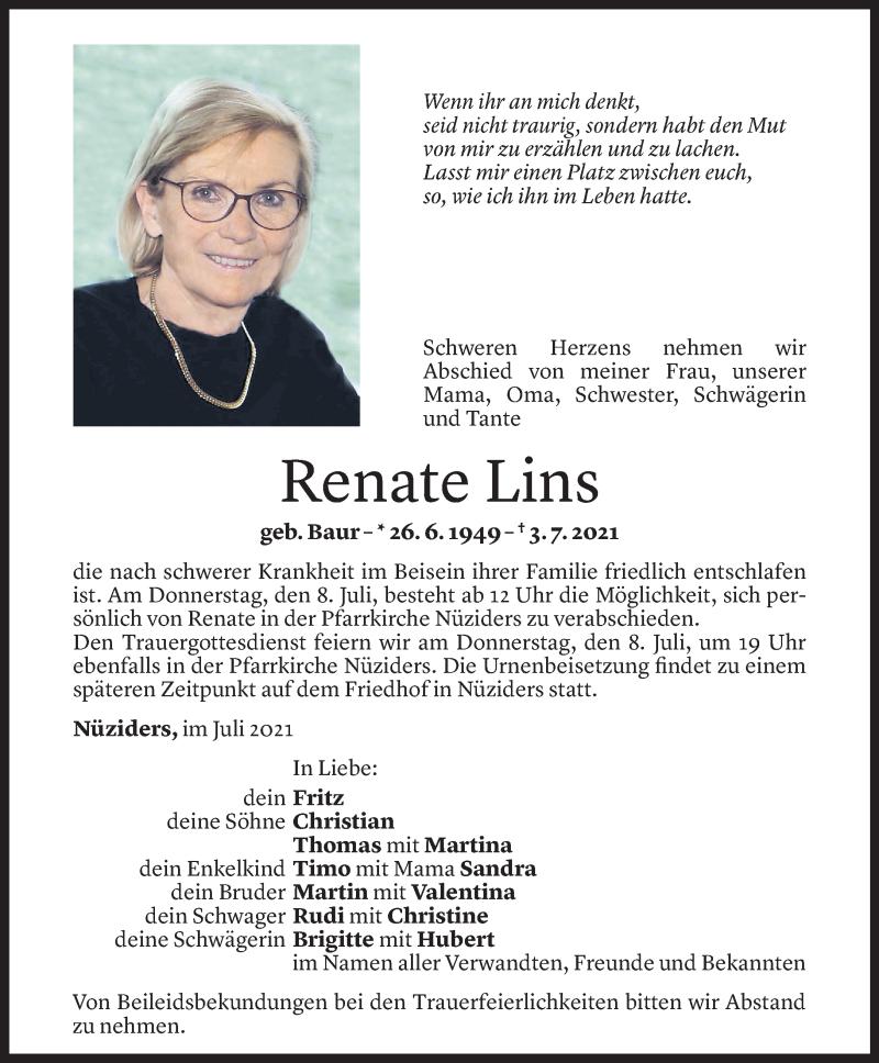 Todesanzeige für Renate Lins vom 07.07.2021 aus Vorarlberger Nachrichten